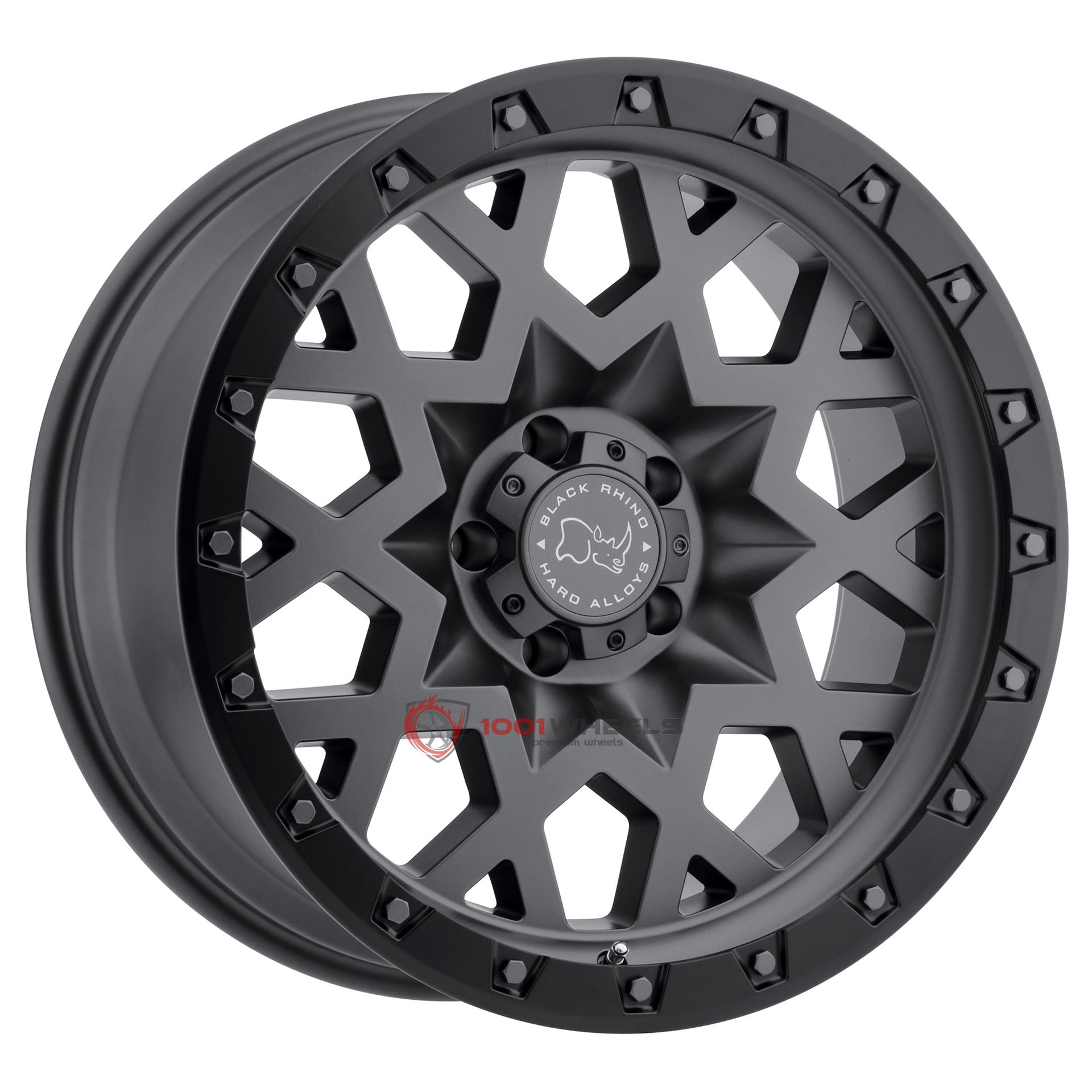 BLACK RHINO SPROCKET matte-gunmetal-wblack-lip-edge-gunmetal-bolts